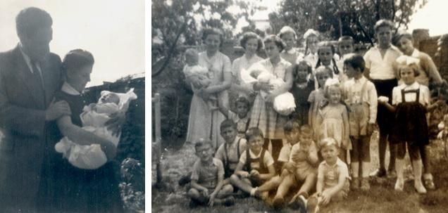 Kálmán keresztelője 1956 – a testvérek, és a kereszttestvérek – köztük három Szamosközi